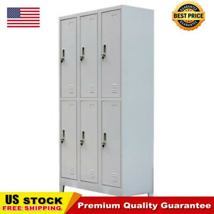 School Office Locker Cabinet With 6 Compartments Steel 35 4 x17 7 x70 9 Gray
