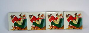 Year 2000 Set Of 4 Collectible Christmas Coca Cola Coasters With Santa Claus New