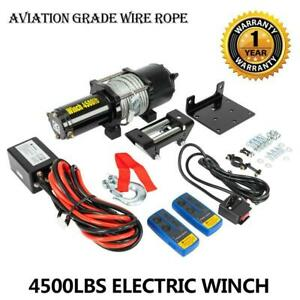 Classic 4500lbs 12v Electric Recovery Winch Truck Suv Wireless 2x Remote Control