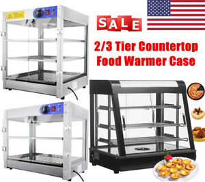 Commercial 2 3 Tier Countertop Food Pizza Warmer Display Cabinet Case Restaurant