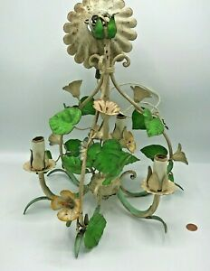 Vintage Italian Tole Chandelier Green Petals Cast Iron Metal Floral Light