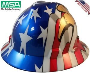 Msa Full Brim Hard Hat American Flag With 2 Eagles Ratchet Suspension