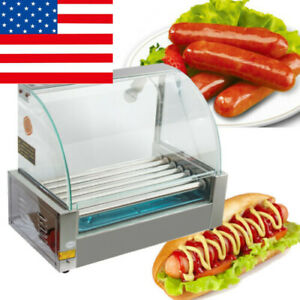 New 18 Hot Dog 7 Roller Grill Cooker Roast Sausage Machine Commercial Home Use