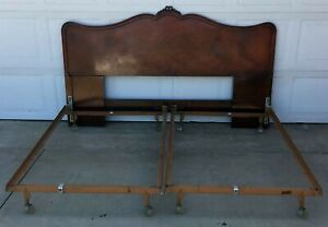 Antique Headboard With Two Twin Metal Bedframes Ca 1960 S Heavy Wood Curved