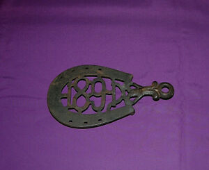 Antique Cast Iron Trivet Rare Over Under Horse Shoe Style 1891 Advertising