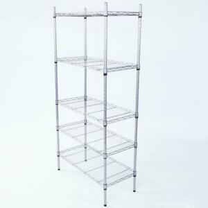 5 shelf Rectangle Carbon Steel Metal Assembly Storage Rack Silver Gray Us