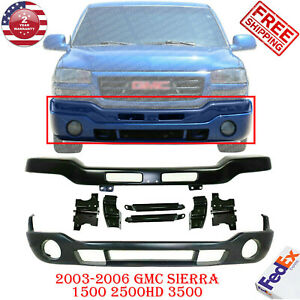 Front Bumper Primed Steel W Bracket Cover For 03 06 Gmc Sierra 1500 2500 3500
