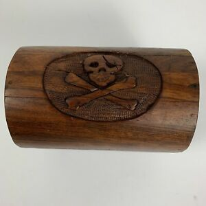 Handmade Carved Skull Crossbones Oak Wooden Treasure Chest