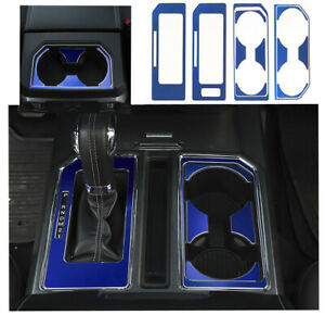 Blue Aluminum Cab Gear Shift Box Cup Holder Decor Sheet Trim For Ford F150 15