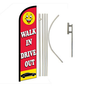 Walk In Drive Out Full Curve Swooper Windless Advertising Flag Dealership Flag