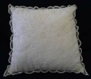Large Vintage 16 Authentic Battenburg Tape Needle Lace Throw Pillow Cream White