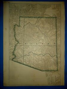 Vintage Circa 1876 Arizona Territory Map Early Old Antique Original Atlas Map