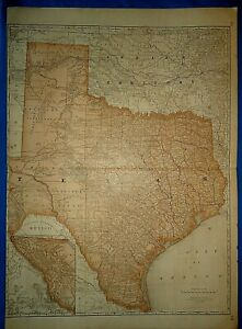 Vintage Circa 1876 Texas Indian Territory Map Old Antique Original Folio Size
