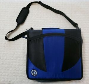 Case It The Mighty Zip 3 ring Zipper Binder Blue Black Never Used