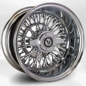 4 Pcs 13x7 72 Spoke Double Cross Lace Chrome Luxor Wheel With Knock Off N Chip