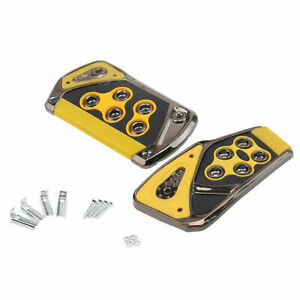 2pcs Auto Car Automatic Brake Gas Pad Pedals Cover Yellow Non Slip For Ford