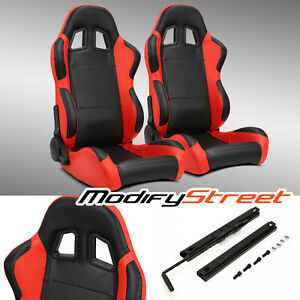 2 X Black side Red Carbon Fiber Pvc Leather L r Racing Bucket Seats Slider