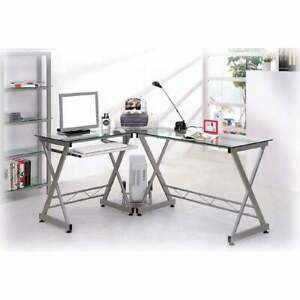 Deluxe Tempered Glass L shaped Computer Desk Silver Clear Large
