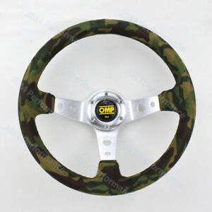14inch Omp Camo Suede Steering Wheel Deep Silver Spoke Universal Steering Wheel