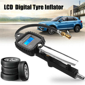 Portable Lcd Digital Car Tire Tyre Inflator Air Pressure Gauge Psi With Hose Us