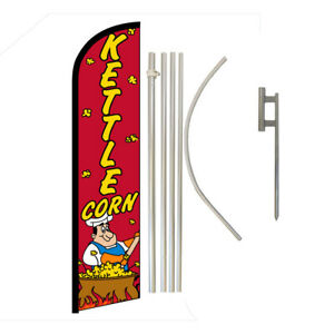 Kettle Corn Full Curve Swooper Windless Advertising Flag Snacks Concessions