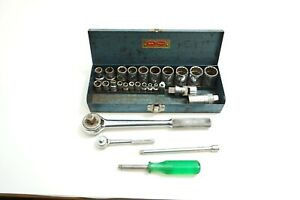 Vintage S k 28 Piece Socket And Tool Set 1 2 And 1 4 Drive W Ratchets Flex