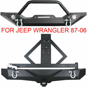 Rock Crawler Front Rear Bumper Winch Tire Carrier For 87 06 Jeep Wrangler Tj Yj