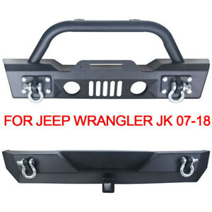 Rock Crawler Front Rear Bumper Winch D Rings 2 Hitch Fits 07 18 Jeep Wrangler