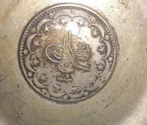 Antique Sterling Silver Dish With Silver Coin Small Bowl For Change