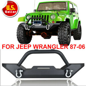 Front Bumper Winch Plate D Ring Rock Crawler For 1987 2006 Jeep Wrangler Tj Yj J