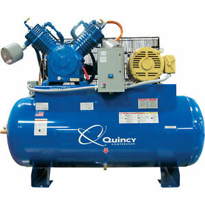 Quincy Qt 15 Splash Lube Reciprocating Compressor 15hp 208v 120gal Horizontal