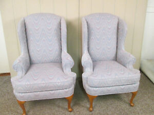 57927 Pair Thomasville Queen Anne Wing Chairs Fireside Armchairs