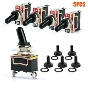 5 Pack Toggle Switch 12v Spst 2 Pin On Off Switch Metal Waterproof For Auto Car