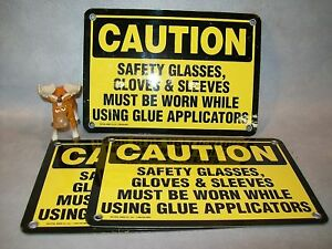 3 Caution Safety Glasses Gloves Must Be Worn Signs