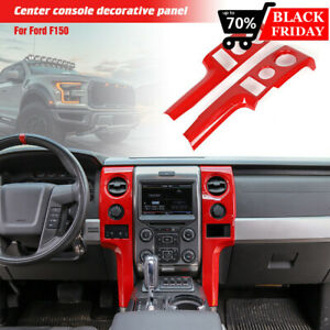 For Ford F150 09 14 Central Control Covers Dashboard Frame Accessories Trim Red