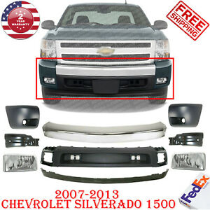 Front Bumper Chrome Steel Ends Valance Fogs For 07 13 Chevy Silverado 1500