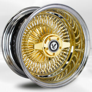4 Pcs 13x7 100 Spoke Straight Lace Gold Luxor Wheel With Knock Off N Chip