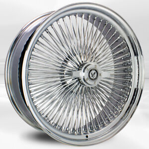 4 Pcs 20x8 150 Spoke Straight Lace Chrome Luxor Wheel With Knock Off N Chip