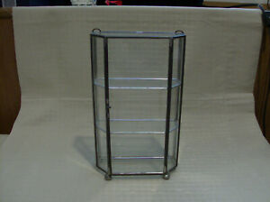 Vintage Glass Silver Gray Metal Display Case Ball Feet Euc Free Ship