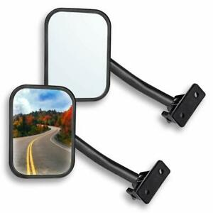 Quick Release Side View 4x4 Off road Mirror 2pcs Rectangular For Jeep Yj Tj Jk