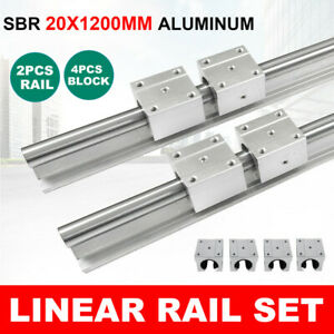 Sbr20 1200mm Linear Slide Guide Shaft 2 Rail 4 Sbr20luu Bearing Block Cnc Sets