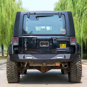 For 2007 2018 Jeep Wrangler Jk Rear Bumper Winch Plate Led Light Hitch Receiver