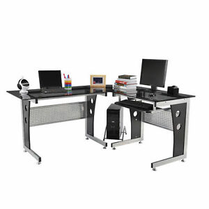 Black 65 Modern Sleek Tempered Glass Top L shaped Computer Desk Workstation