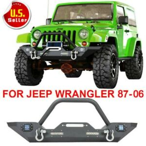 For 87 06 Jeep Wrangler Yj Tj Front Bumper Winch Plate D rings Cree Led Lights