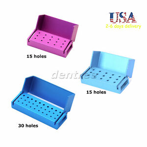 15 30 Holes Dental High Speed Bur Holder Block Case Autoclave Disinfection Box