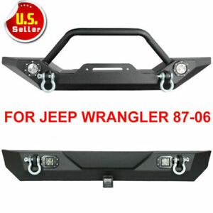 Front Rear Bumper Textured W Led Lights Winch Plate 87 06 Jeep Wrangler Tj Yj