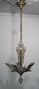 Antique Vintage Chandelier Art Deco Slip Shade Fixture Frame Lamp Hand Made