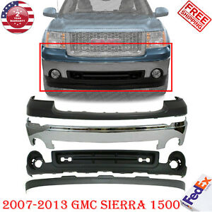 Front Bumper Chrome Steel Kit Up Low Covers For 2007 2013 Gmc Sierra 1500
