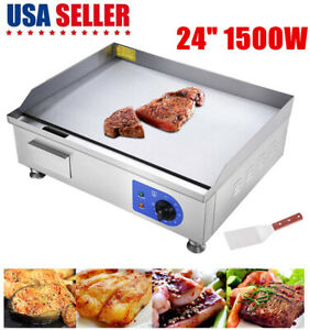 1500w 24 Electric Countertop Griddle Flat Top Commercial Restaurant Grill Bbq