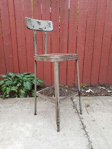 Vintage Steampunk Classic Lyon Steel Stool With Back 904
